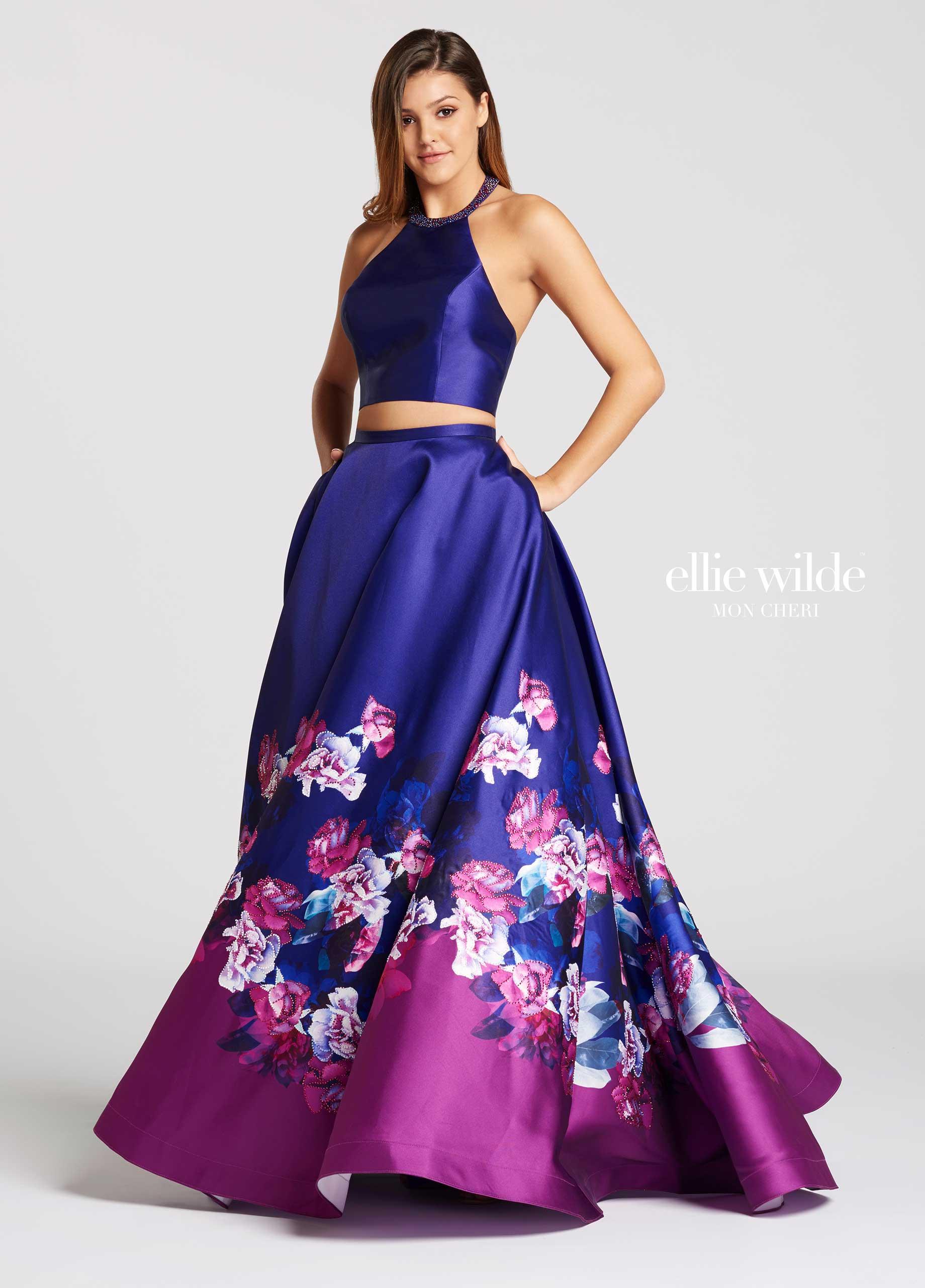 floral print prom dress Ellie Wilde EW118001 A
