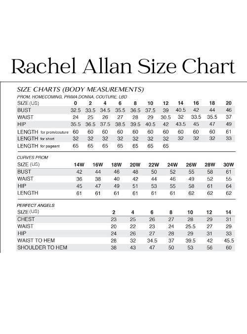 Rachel Allan Size Chart